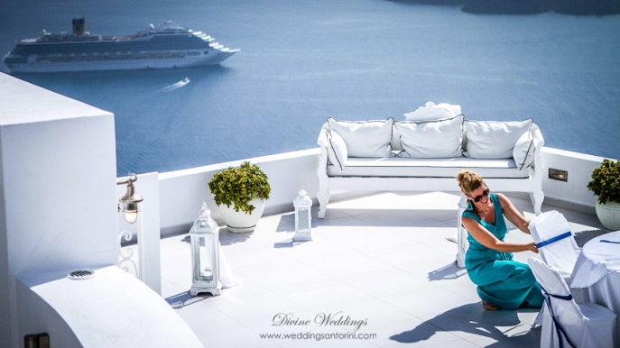 The cruise ships stationed in the caldera bay for the day offered a breathtaking site